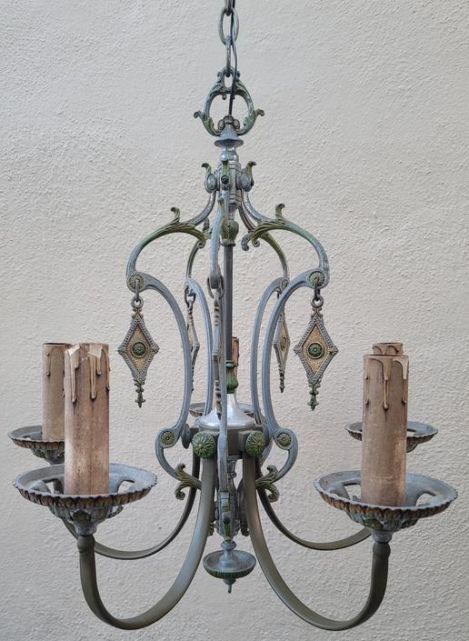Vintage Hand-Painted Silver and Green Spanish Mediterranean Revival Art Deco 5-Arm Chandelier