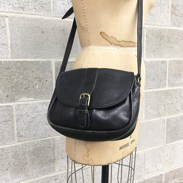Vintage Coach Bag Retro 1990s Black + Genuine Leather + No 5120 + Brass Metal + Crossbody or Shoulder Bag + Purse + Womens Accessory by RetrospectVintage215