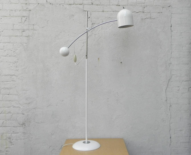 Modern White Chrome Eyeball Floor Lamp, Task Lamp, Counterbalanced by ilikemikes