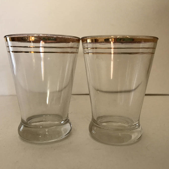 Vintage Pair  Juice Glasses with Gold Trim  Nice condition- 4 ounce by JoAnntiques