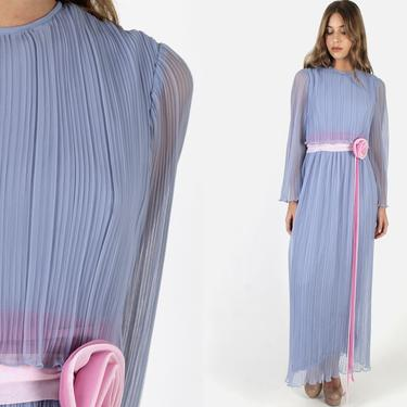 Vintage 70s Periwinkle Chiffon Dress / Long Pleated Sheer Bell Sleeve Dress / Pink Rosette Sash Sheer Lined Gown Maxi Dress by americanarchive