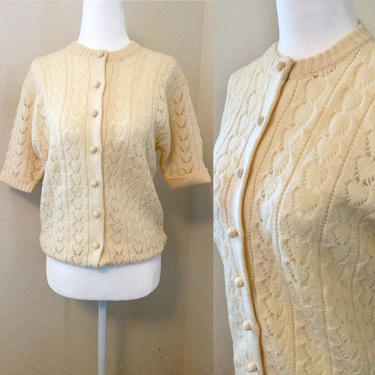 Vintage 70s Wool Half Sleeve Cardigan Sweater by AuntyEntitysVintage