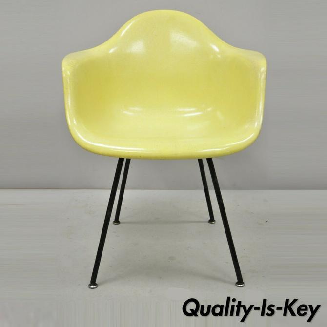 Vintage Herman Miller Yellow Fiberglass Eames Shell Arm Chair H Base (B)