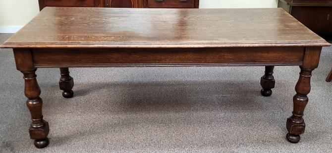 Item #TF1 Antique Quarter Sawn Oak Library Table c.1910