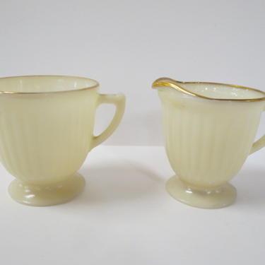 Vintage Antique set of petalware cream and sugar