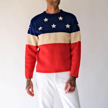 Vintage SKANE Distressed American Flag Pullover Sweater w/ Embroidered Star Applique | Made in Sweden | 100% Pure Wool | Designer Sweater by TheVault1969