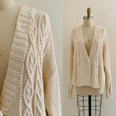 vintage 80's cable knit cardigan // fall beige sweater by HarlowsVintage