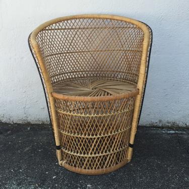 Woven rattan barrel chair
