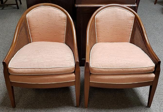Item #NL36 Pair of Vintage Walnut, Cane & Upholstered Chairs c.1960s