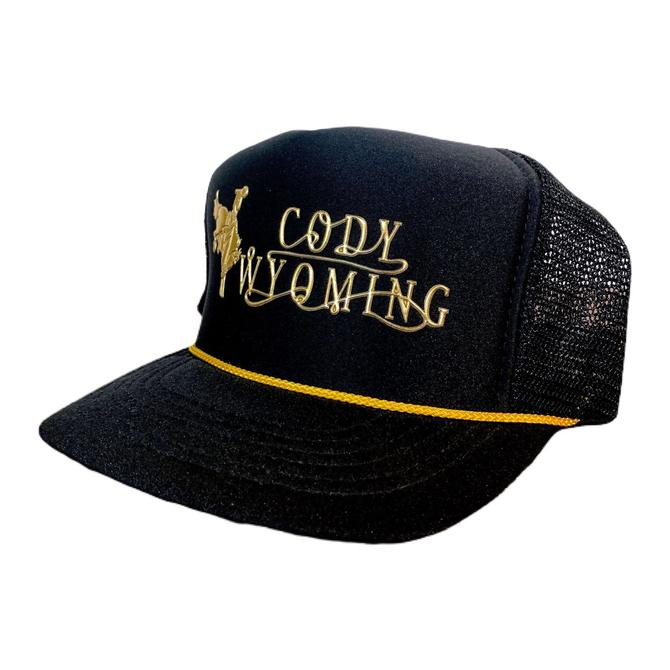 Vintage 90s Wyoming Trucker Hat Cody Black and Gold Snapback by OverTheYearsFinds