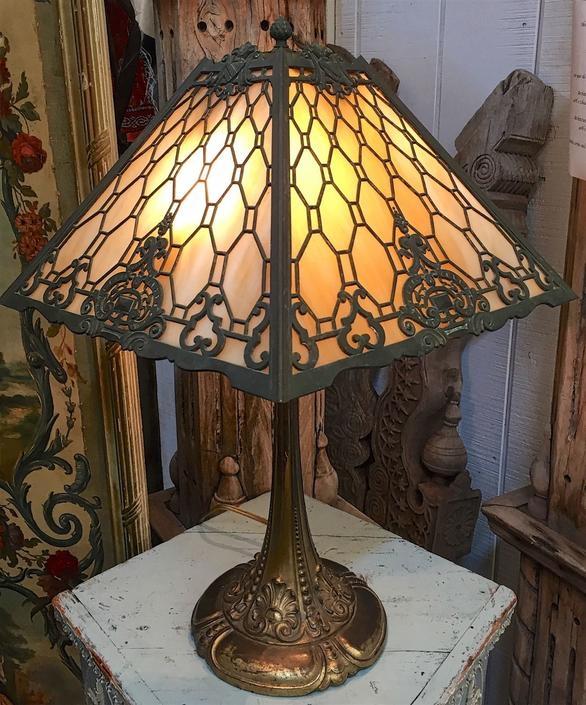 Antique Art Déco Slag Glass 4-Panel Table Lamp | Double Socket