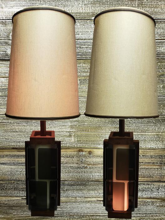Vintage Lucite Lamps Smoked Lucite Table Lamps Acrylic Wood Lamps 1960s Danish Modern Lamp Mid Century Modern Vintage Lighting By Agogovintage