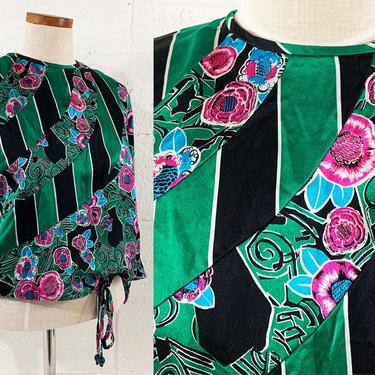 Vintage Silk Blouse Diane Freis Flower Print Drawstring Shirt Top 3/4 Sleeve Batwing Floral Black Green Pink 80s 1980s Small Medium Large by CheckEngineVintage