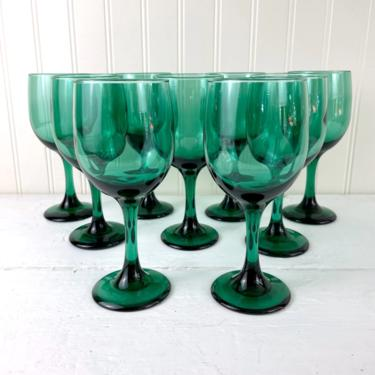 Libbey Premiere dark juniper green water goblets - set of 9 - 1990s vintage by NextStageVintage