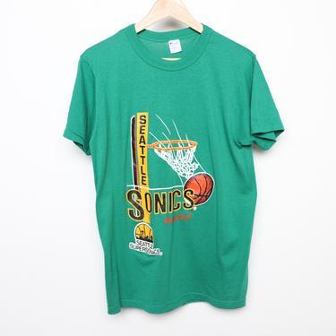 vintage 1980s SEATTLE SUPERSONICS champion brand 80s 90s shawn kemp gary payton era officially licensed SONICS t-shirt - size medium by CairoVintage