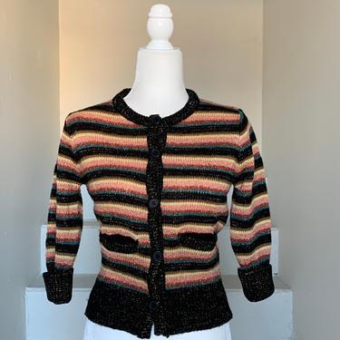 Metallic Striped Late 70s Early 80s Cropped Sweater Unworn Pockets 34 Bust Vintage by AmalgamatedShop