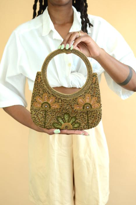 Vintage Floral Embellished Beaded Art Deco Top Handle Purse / Handbag by MAWSUPPLY