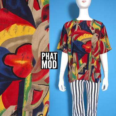 Cool Unique Vintage 80s 90s Red Beige Blue Abstract Pattern Short Sleeve Blouse by RETMOD