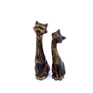 Vintage Mid-Century Siamese Cat Figurines | Retro Gold & Black Ceramic Love Cats | Flirty Felines || Custom Color Available! by ELECTRICmarigold