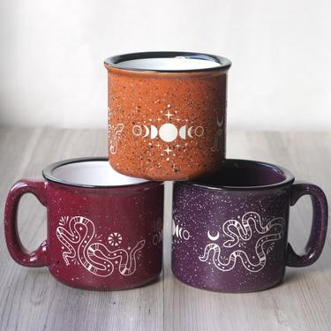 Snakes + Moon Phases Mug - engraved ceramic camp mugs by BreadandBadger