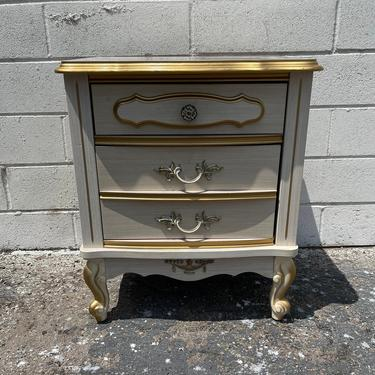 French Provincial Nightstand Bedside Table Sears Bonnet Series Neoclassical Bedroom Furniture Console Shabby Chic CUSTOM PAINT AVAIL by DejaVuDecors
