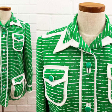 True Vintage Kelly Green and White Striped Collared Lightweight Jacket Shirt Button Front Long Sleeve Top Pointed Collar Unisex Large Medium by CheckEngineVintage