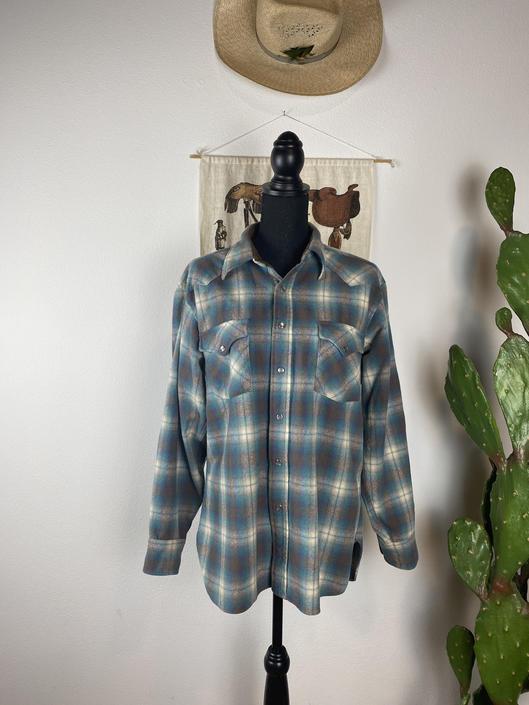 Vintage PENDLETON Flannel Pearl Snap Western Wear Medium-Large by DesertCactusVintage