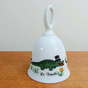 Vintage Papel Novelty Porcelain Bell | La Famille | Alligator Al A Gator | Alligator Family | Japan by TheFeatheredCurator