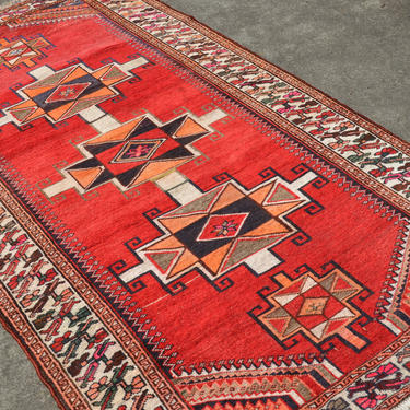 """Vintage Hand Knotted Persian Kazak Area Rug - 3' 11"""" X 7' 6"""" by SourcedModern"""