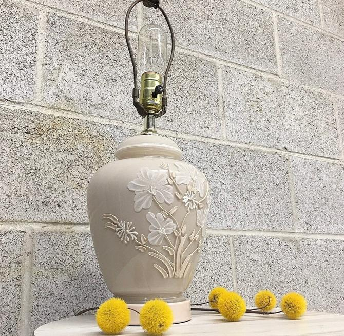 Vintage Table Lamp Retro 1970s Contemporary + Glass + Small Size + Ecru Beige + White + Floral Design + Mood Lighting + Home and Table Decor by RetrospectVintage215