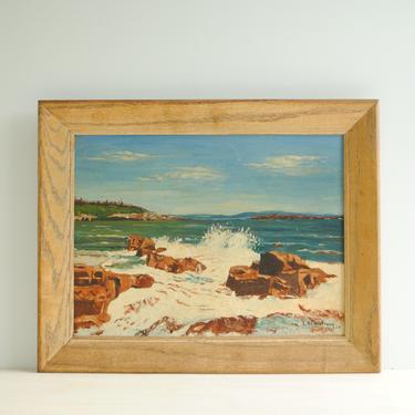 Vintage Ocean Painting of Waves Crashing on Rocks, Original Seascape Oil Painting, Oceanscape Painting, Beach Painting, Mid Century Painting by LittleDogVintage