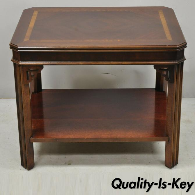 Lane Mahogany Chinese Chippendale 2 Tier Inlaid End Side Lamp Table