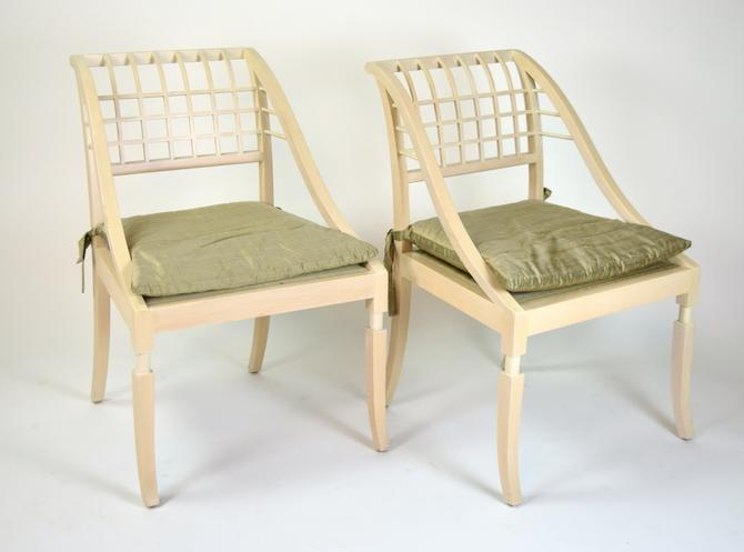 Pair Vintage Saladino Paint-Rubbed Beech Sleigh Chairs Silk Cushions by PrairielandArt