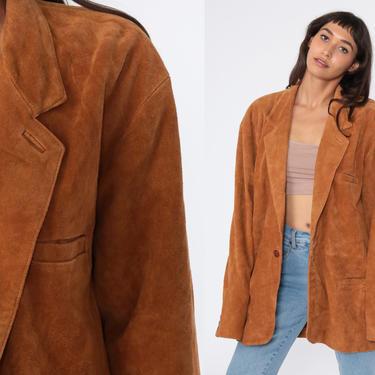 Leather Blazer Jacket Men's L 80s Bohemian Brown Suede Jacket Boho Hippie Coat Vintage Hipster Collared Button Up Men's Large by ShopExile