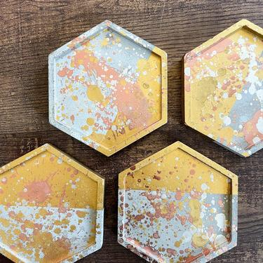 Rustic Mixed Metal Splash Hexagon Concrete Coasters, Set of 4 - Gold, Silver and Rose Gold Accents by SundayStudioOC