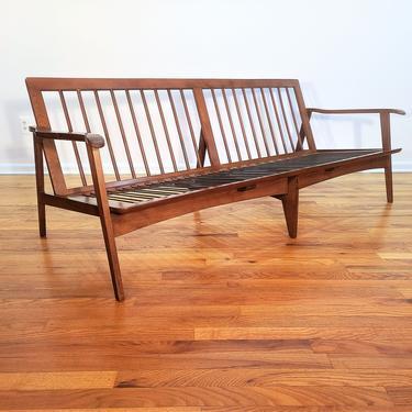 Mid Century Wood Lounge Sofa - Made in Yugoslavia by ProRefineFurnishings