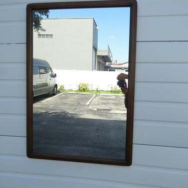 Mid Century Modern Walnut Wall Dresser Bathroom Vanity Mirror by Lane 2285