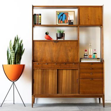 Mid Century Modern Walnut Display Cabinet China Cabinet Room Divider by formermodern