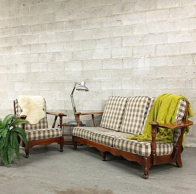 Vintage J.B.Van Sciver Couch and Lounge Chair Retro Wood Frame Two Piece Matching Set Gingham Print LOCAL PICKUP ONLY by RetrospectVintage215