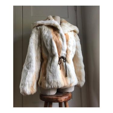 1970s Rabbit Fur Coat- waist length- size small/med by VeeVintageShop