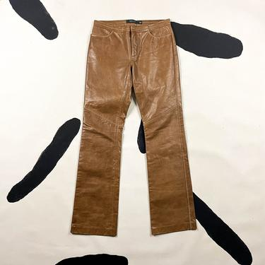 90s Gap Light Brown Leather Flared Pants / Size 4 / Bootcut / Flares / Tan / y2k / 00s / Contrast Stitching / Low Rise / XS / Western / Wax by shoptrashdotnet