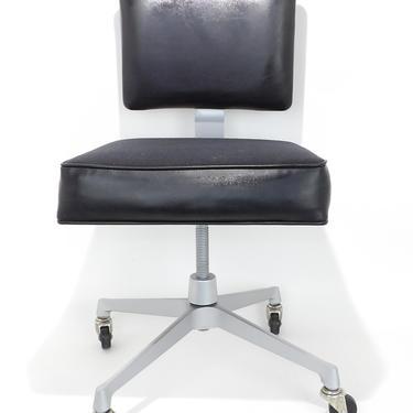 Frank Doerner Mid Century Modern Office Chair Dental Tattoo Salon Doctor Gray & Black Vinyl Tanker Desk Industrial Steampunk Industrial Age by MakingMidCenturyMod