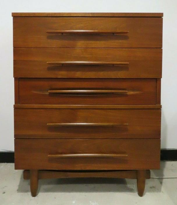 MID CENTURY WALNUT TALL DRESSER HARMONY HOUSE robsjohn gibbings chest of drawers