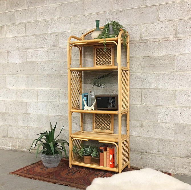 LOCAL PICKUP ONLY ———— Vintage Rattan Shelving Unit by RetrospectVintage215