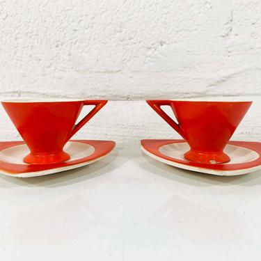 True Vintage Salem Tricorne China Set Two Espresso Cups Saucers Atomic Art Deco Streamline Mandarin Orange Red Mid-Century Triangular Coffee by CheckEngineVintage