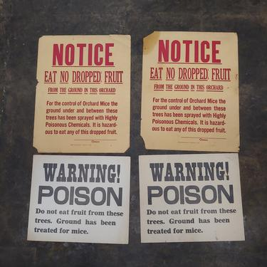 Poison warning orchard signs lot of 4