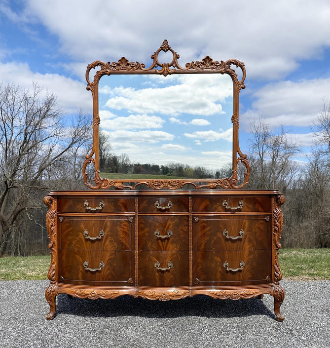 NEW - Vintage Ornate Carved Mahogany Dresser with Rare Mirror, French Style Bedroom Furniture by ForeverPinkVintage