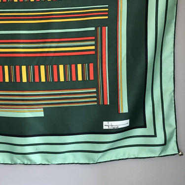 "Vintage Italian Silk Scarf by Vittorio - green geometric scarf with yellow and red, 34"" square by ShopTheHyphenate"
