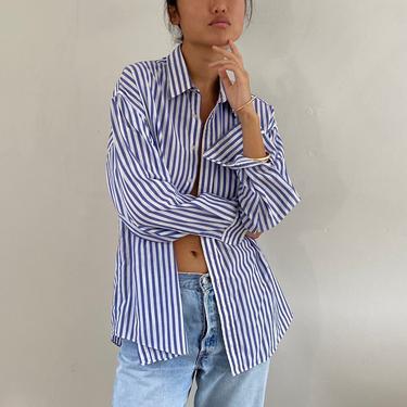 90s cotton striped blouse / vintage blue striped pinstripe cotton lightweight boyfriend blouse shirt | L XL by RecapVintageStudio
