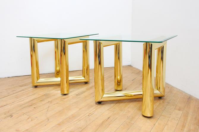 Tubular Brass End Tables Side Pair Tables Glass Karl Springer Pace Zig Zag Postmodern Hollywood Regency by 330ModernAntique